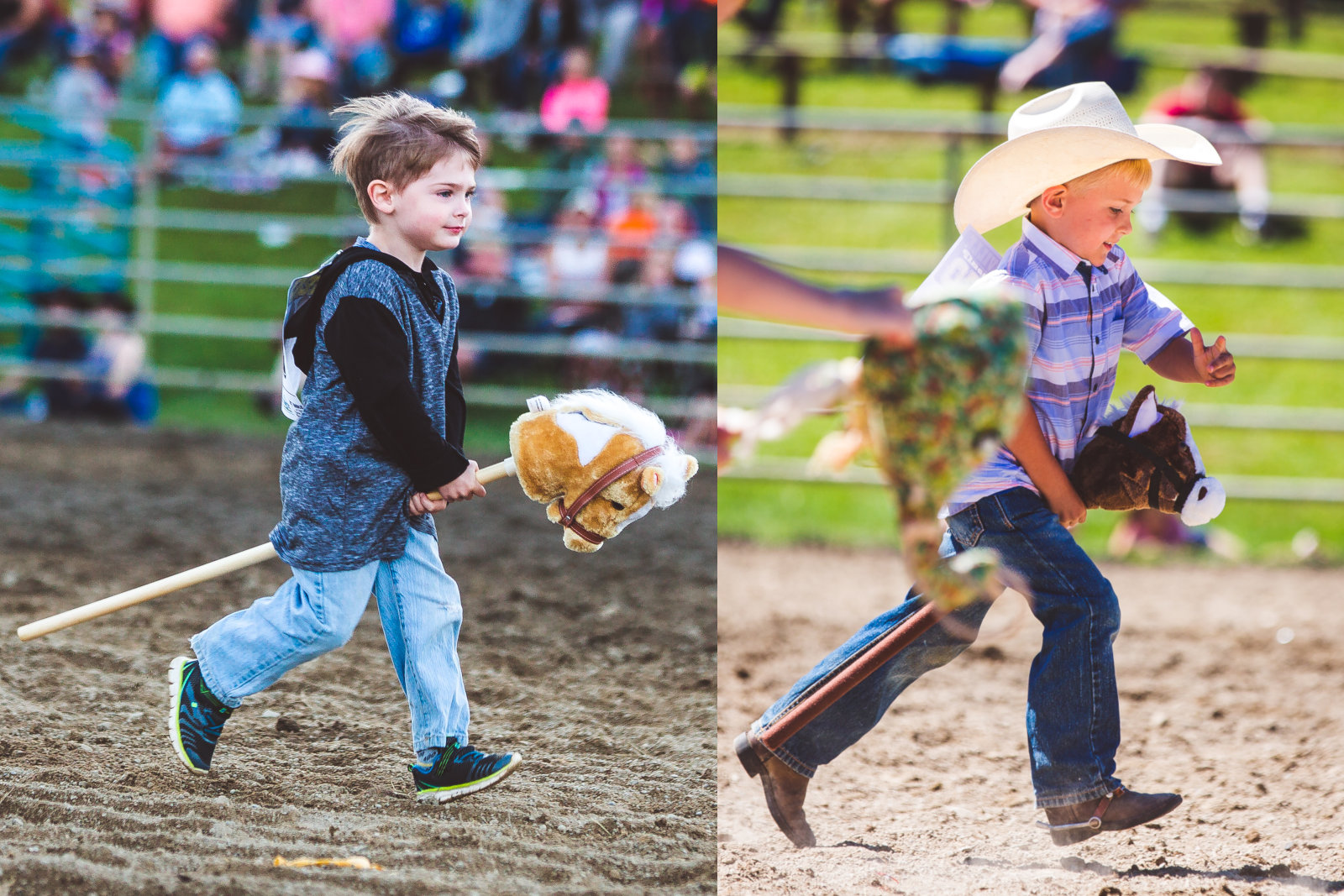 Collage of two stick-horse competitors at the Ellicottville Rodeo in July 2018
